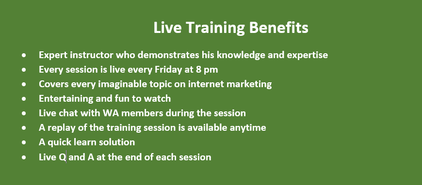 2021 Wealthy Affiliate Review - Updated Live Training Benefits List
